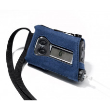 Case with a lanyard, blue suede (alcantara) for Accu Chek Spirit/Combo pump