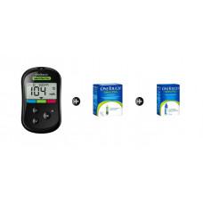 OneTouch Select® Plus Flex set + 50 test strips + control solution