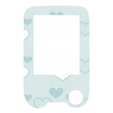 Sticker with a protective foil for the FreeStyle Libre reader - hearts in blue