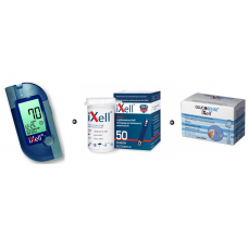 iXell Glucometer Kit + iXell strips 50 pieces + Glucosense/iXell lancets 100 pcs