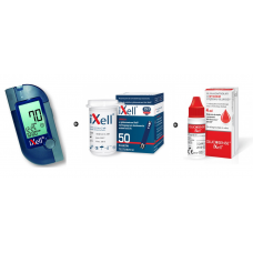 iXell Glucometer Kit + iXell strips 50 pieces + Control solution